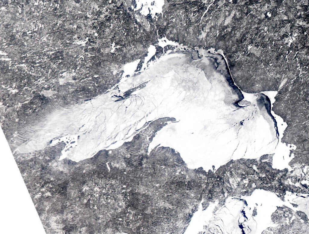 Ice-covered Lake Superior in February. Image provided by NOAA to the AP.