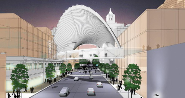 """Concept sketch for a """"light pavillion"""" in downtown Rochester."""