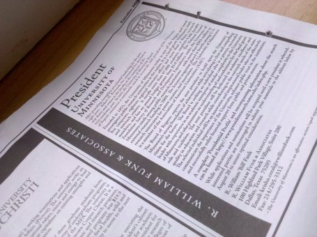 Listing in the Chronicle of Higher Education