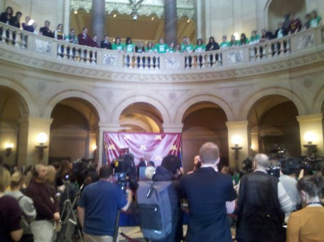 Gov. Dayton spoke at today's rally, held in the Capitol rotunda