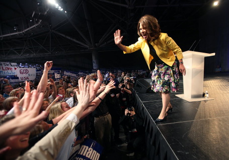 Bachmann at the Minneapolis tea party rally.