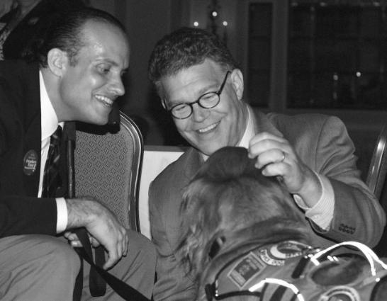 Franken, Montalvan and his dog Tuesday.