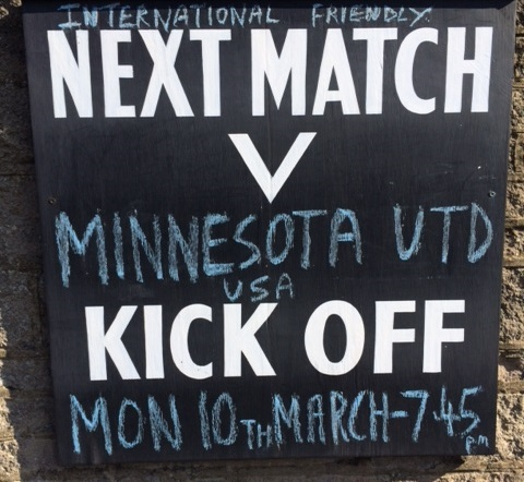 Matlock town advertises their match against United.
