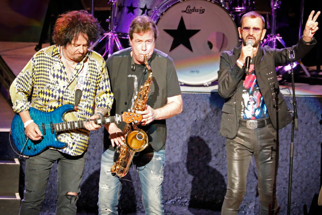 Ringo Starr (right) with Steve Lukather and Warren Ham at the Ordway/ Star Tribune photo by Leila Navidi
