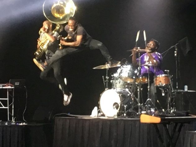 The Roots' Damon Bryson and Cap'n Kirk Douglas jump off Questlove's drum kit