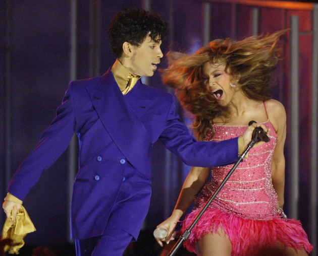 Prince and Beyonce at the 2004 Grammys/ Associated Press