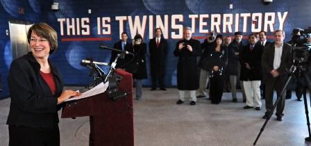 U.S. Sen. Amy Klobuchar announcing the transit center grant (photo by Richard Sennott)
