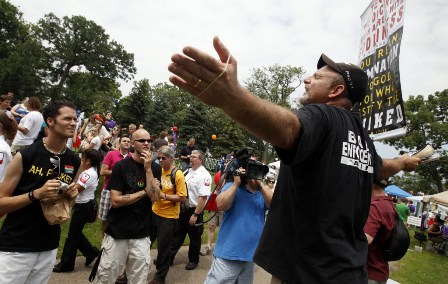 Preacher at Pride, 2010 (file photo by David Joles)