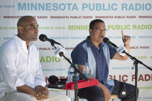 Chris Fields and U.S. Rep. Keith Ellison (photo by Brian Peterson)