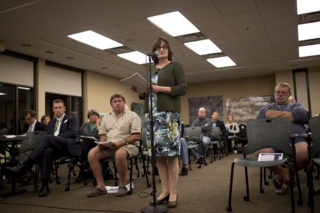 Council Member Sandy Colvin Roy at the airport meeting (photo by Jeff Wheeler)