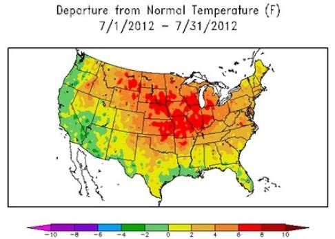 Paul Douglas Weather Column Free AC July Hottest Month For USA - Us weather map temperature celsius