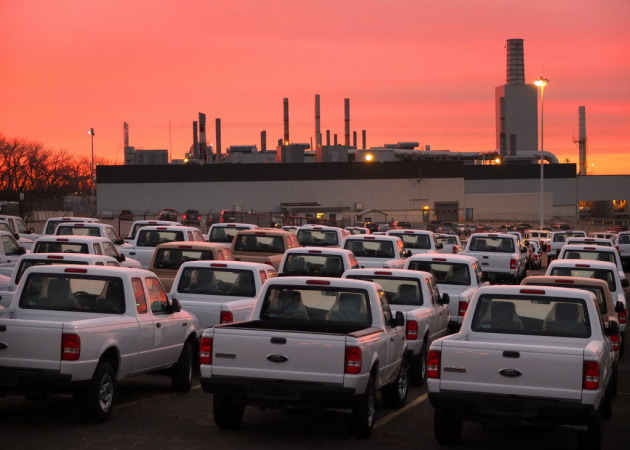 Sunrise over the St. Paul Ford Ranger Plant on the day last truck will roll off the line.