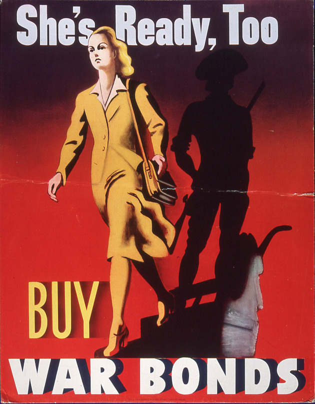 WWII-era poster promoting the purchase of savings bonds.