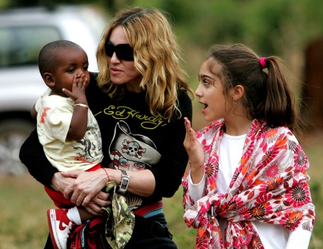Madonna with kids David and budding fashionista Lola in 2008 AP file photo