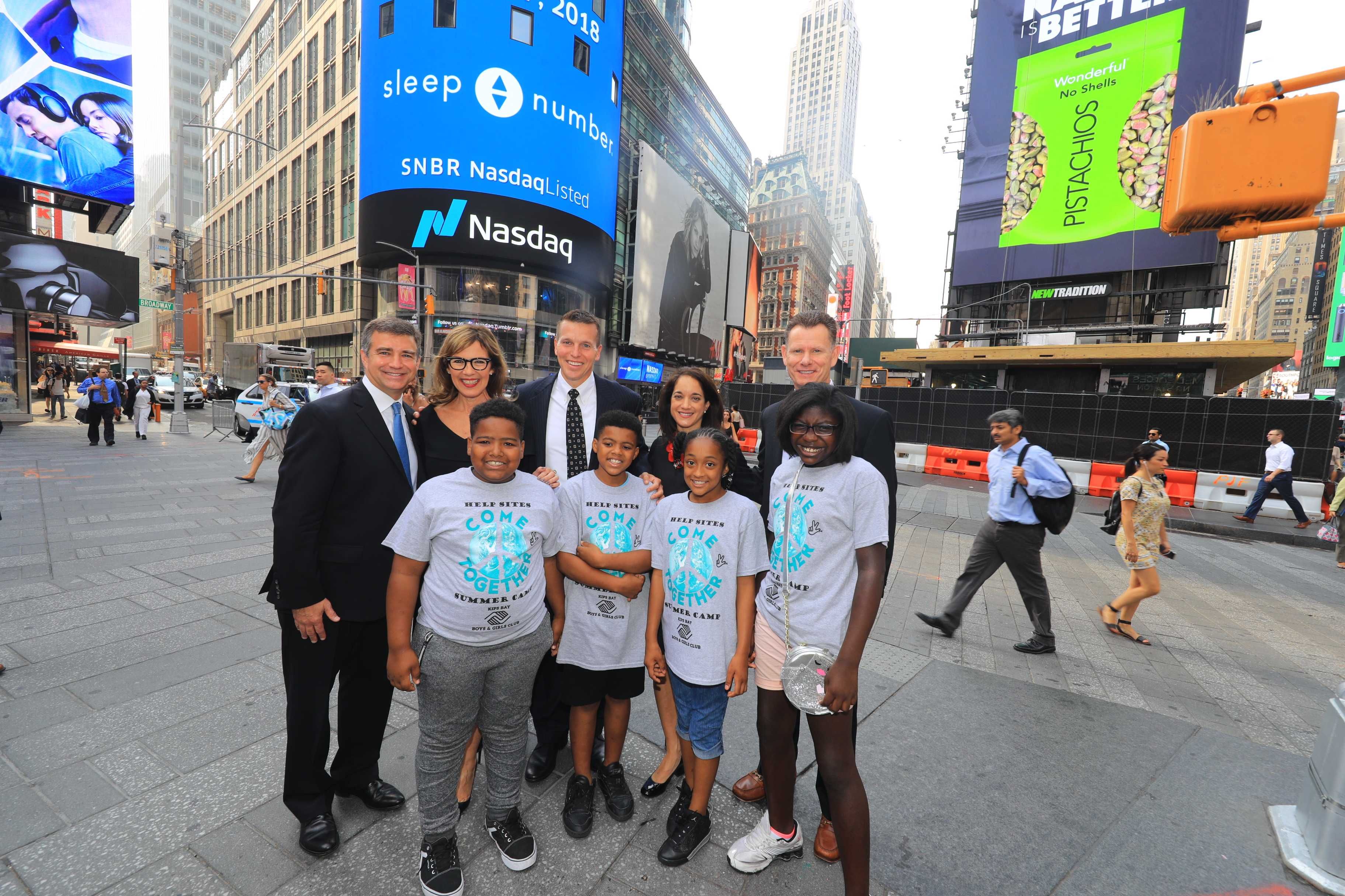Sleep Number executives surprised four kids from the Bronx Boys & Girls Club on Monday with donationsof new Sleep Number Beds after ringing th Opening Bell.
