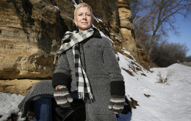 Amy Nelson at a proposed mine in Hay Creek Township
