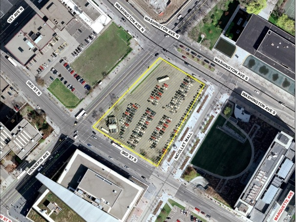 Aerial view of the Nicollet Hotel Block. Photo courtesy of the City of Minneapolis