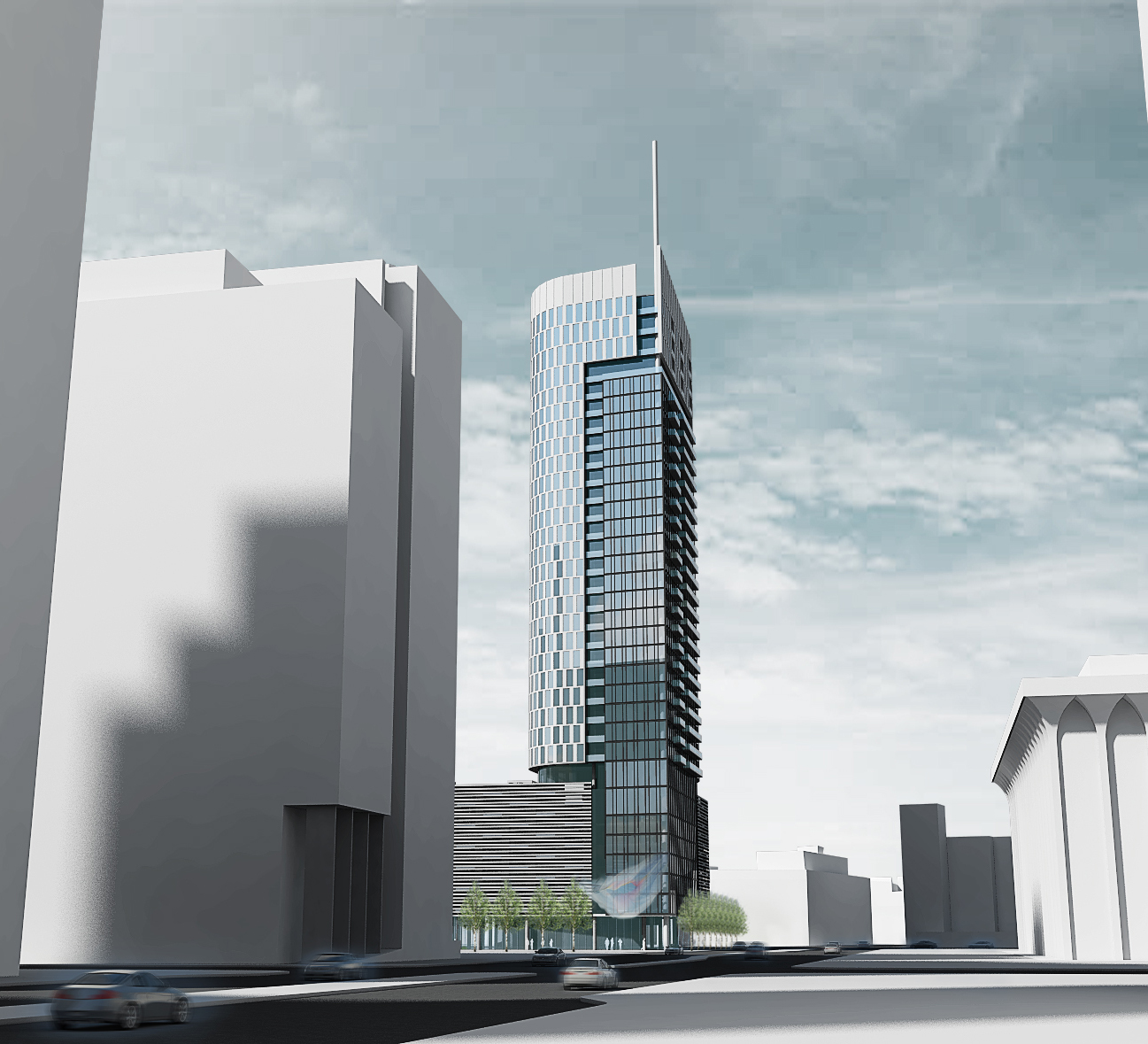 Rendering of Mortenson Development's 31-story tower being proposed on the Nicollet Hotel Block