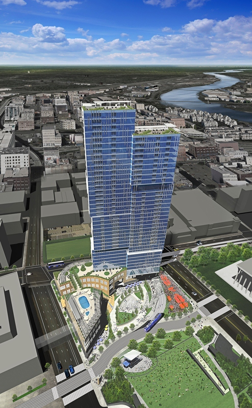 Renderings by architect LHB of United Properties' Nicollet Hotel Block plans