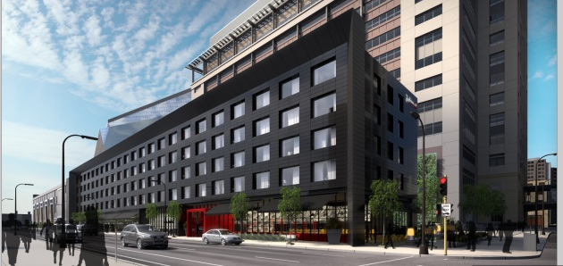 Design renderings for the new Radisson Red hotel being proposed by Ryan Companies. (submitted to the City of Minneapolis)