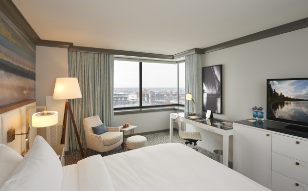 A corner king room at the newly renovated Loews Hotel downtown Minneapolis.