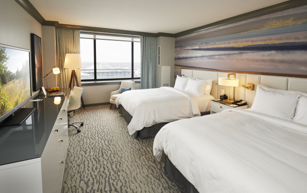 A double-queen room at the newly renovated Loews Hotel downtown Minneapolis.