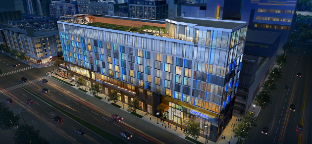 Sherman Associate's 9-story hotel, office and retail proposal for 800 Washington Av. S.