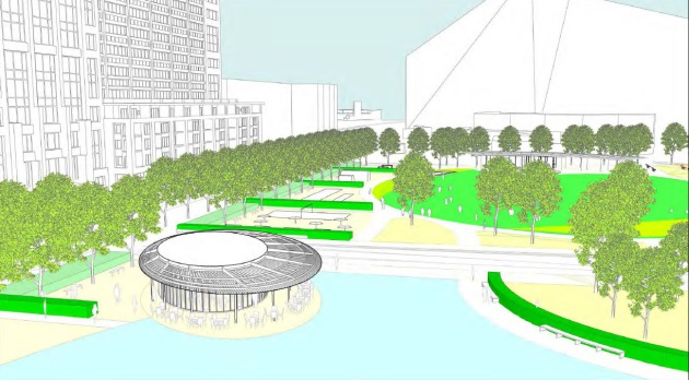 Downtown East Cafe and Pavilion design concept as presented to the City of Minneapolis