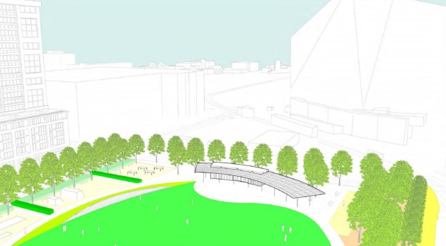 Downtown East Commons park support design concept as presented to the City of Minneapolis