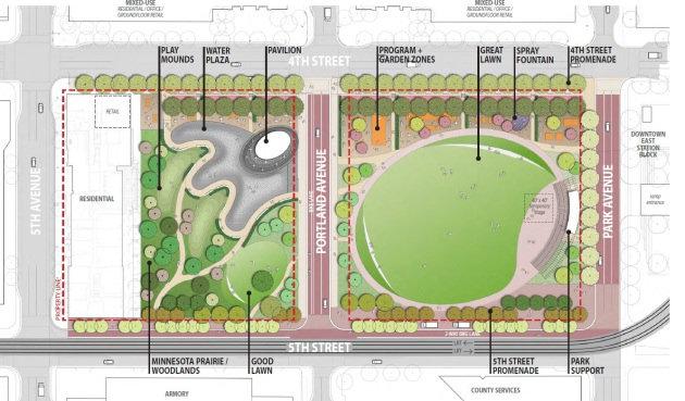 Downtown East Commons site plan as presented to the City of Minneapolis