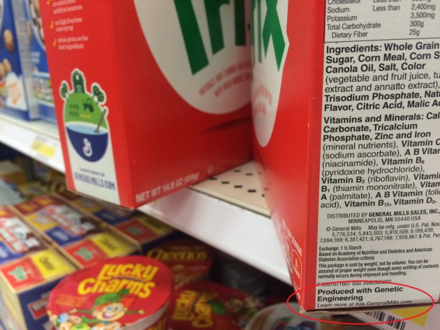 General Mills' products, including Trix, are now on store shelves with GMO labels.
