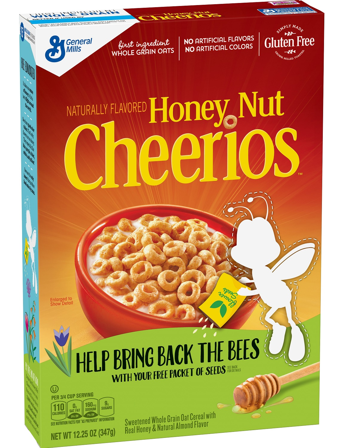 BuzzBee is missing from Honey Nut Cheerios boxes to raise pollinator awareness. (image handout: General Mills)