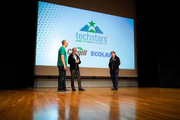 Ecolab CEO Doug Baker (middle) and Cargill CEO David MacLennan (right) at Techstars Farm to Fork 2018 Demo Day. Photo: Mark Vancleave/Star Tribune