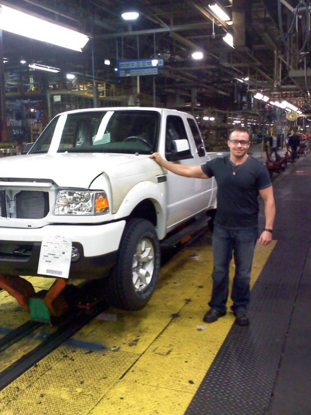 Michael Bartlett stands by the last Ford Ranger vehicle to be built at the St. Paul Ford Plant. PHOTO: submitted by Michael Bartlett