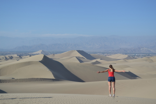 Embracing the view at Huacachina