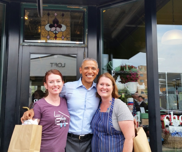 President Obama with Laurie Crowell at right, and her sister Lisa McCann, at left