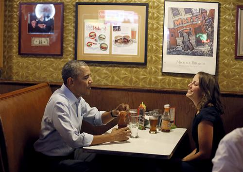 President Obama with Rebekah Erler, who had also written a letter to the White House. Photo by Jerry Holt, Star Tribune