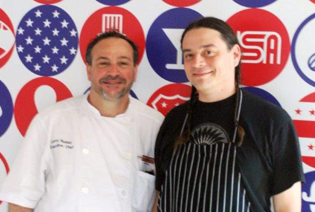 From left, chefs Lenny Russo and Sean Sherman at the World Expo Milan. Photos by Kjara Staric Wurst.