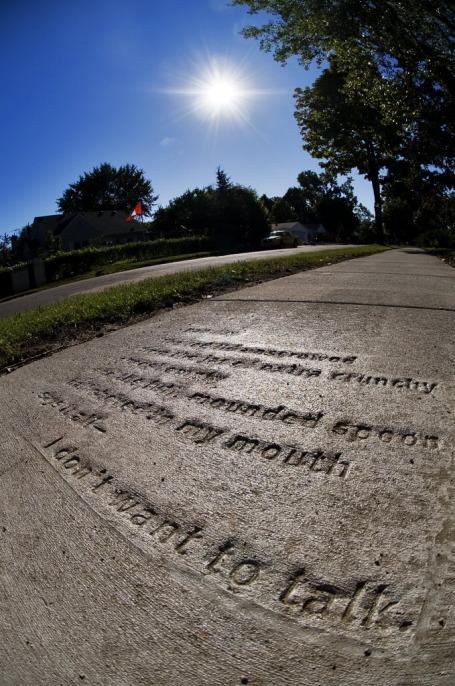 Poetry, embedded in a sidewalk in St. Paul's Como neighborhood. Staff photo by David Brewster