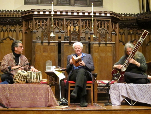 Robert Bly with musicians Marcus Wise and David Whetstone, in Minneapolis on Monday night. Photo by Laurie Hertzel