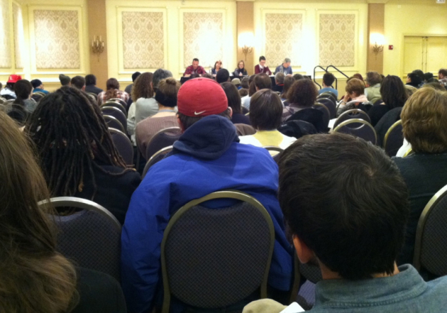 The room was packed for the lyric essay discussion, which became contentious.