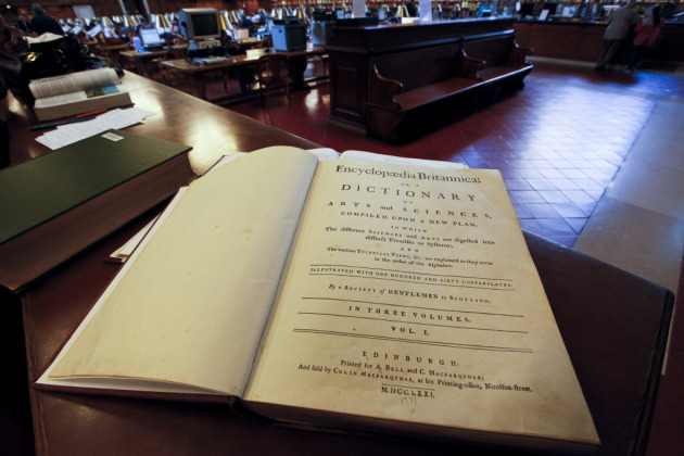 An Encyclopaedia Britannica from 1771 at a New York Public Library. New York Times photo by Angel Franco.