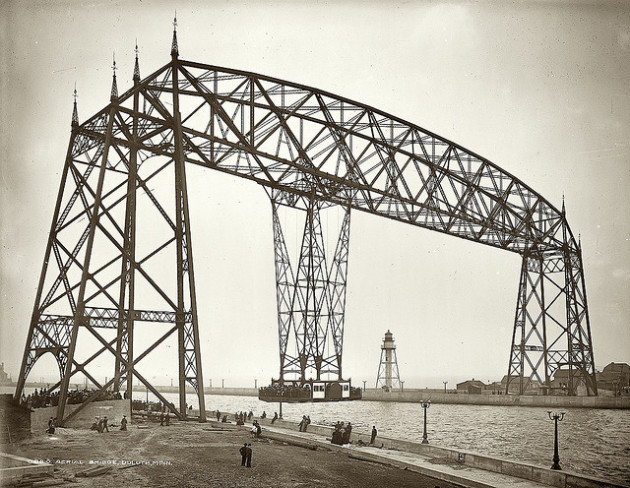 The old Duluth Transfer Bridge, the precursor to the Aerial Lift Bridge. Ca. 1905.