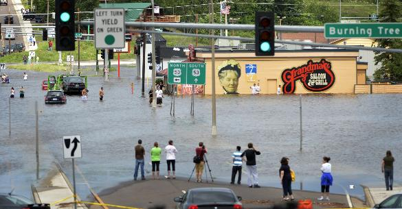 Flooding up near the Miller Hill Mall in Duluth. Photo by Brian Peterson.
