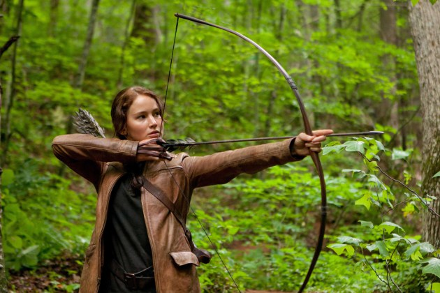 "Actress Jenna Lawrence played Katniss Everdeen in the movie version of ""The Hunger Games."""