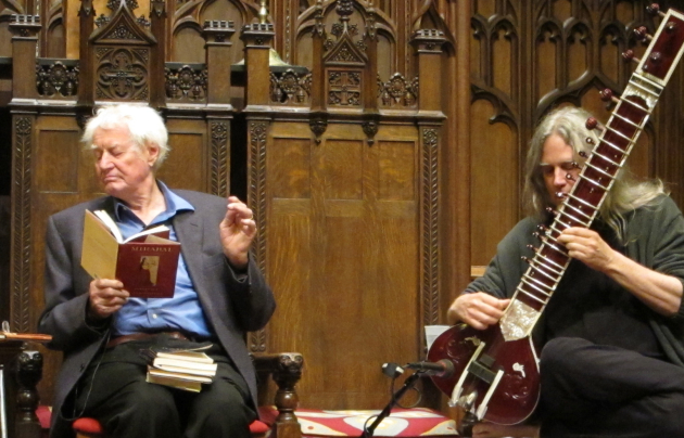 "Robert Bly and David Whetstone, at the launch of Bly's latest collection, ""Talking into the Ear of a Donkey."" Photo by Laurie Hertzel"