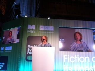 Hilary Mantel accepting the Man Booker Prize today in London.