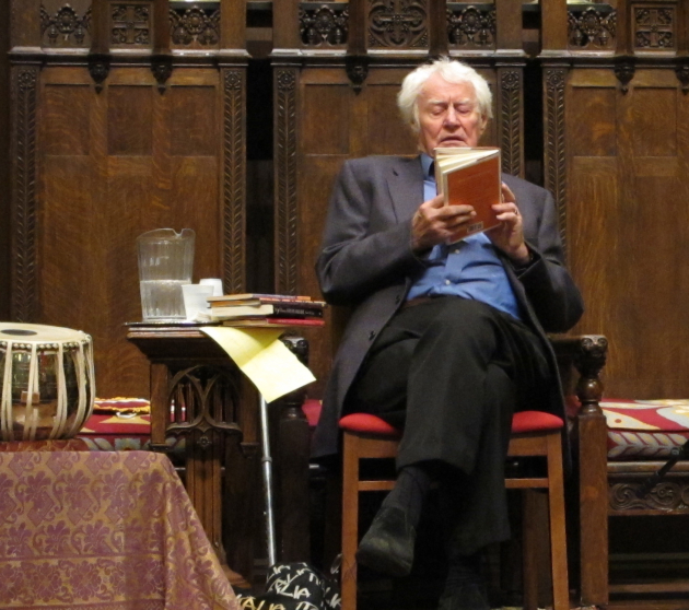 "Robert Bly reads at the launch of ""Talking into the Ear of a Donkey"" in Minneapolis in 2011. Photo by Laurie Hertzel"