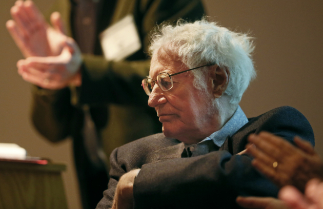 "Robert Bly at the American Swedish Institute, launching ""Airmail."" Star Tribune photo by Jerry Holt."