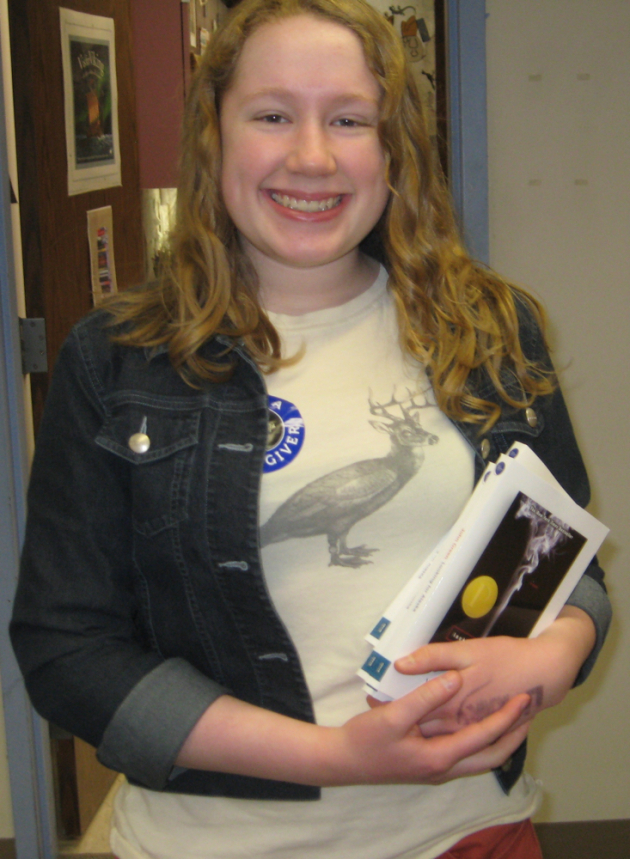 Emma Westbrook handed out &quot;Looking for Alaska,&quot; by John Green, at Edina High School
